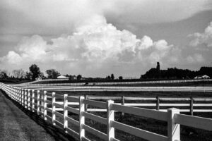 A photo of fences and clouds