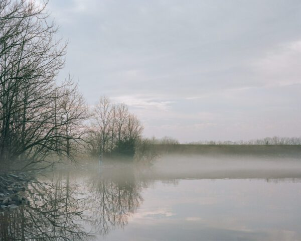 A photograph of a hazy day on Lake Galena