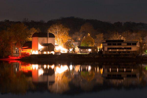 nighttime photograph of the Bucks County Playhouse