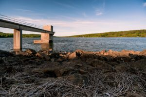 A photo of the Dam at Peace Valley Park