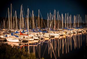 Photograph of boats at night. Lake Nockamizon.