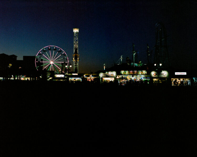The lights of the boardwalk at night