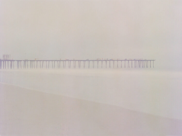 A hazy photo of a bridge