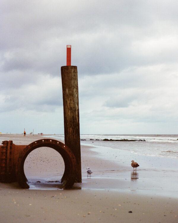 A drain pipe on the beach