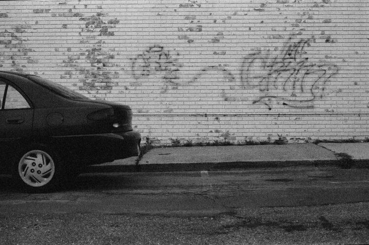 Graffiti behind a car in Souderton, PA