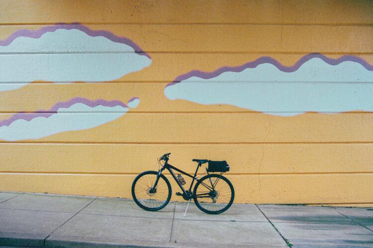 My bike under Harry Boardman's mural in Souderton, PA