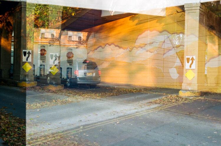 A double exposure photo of Harry Boardman's Mural in Souderton, PA