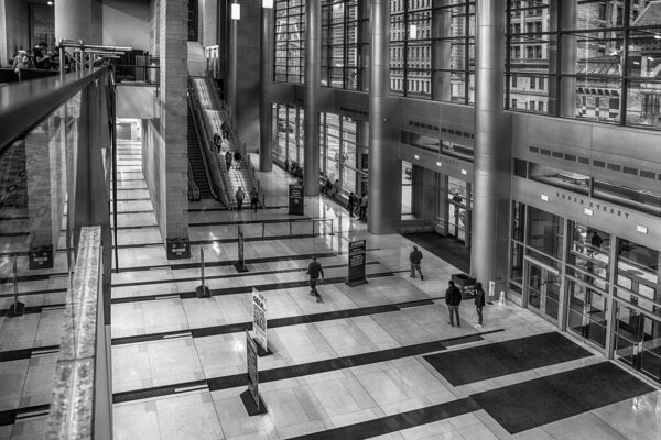Black and white photo of the Philadeloa Convention Center