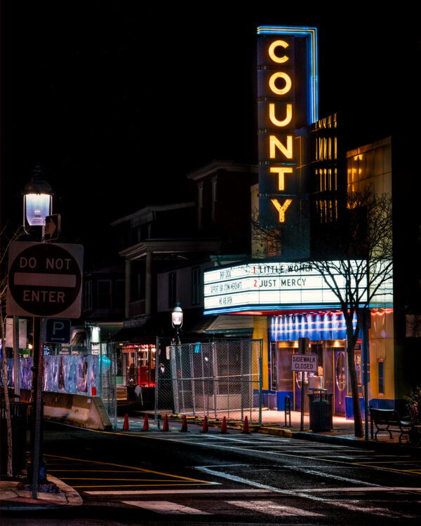 Nightime photo of The County Theater in Doylestown