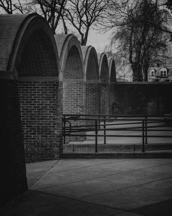 The old courthouse arches in Doylestown