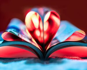 Photo of a heart created with a book