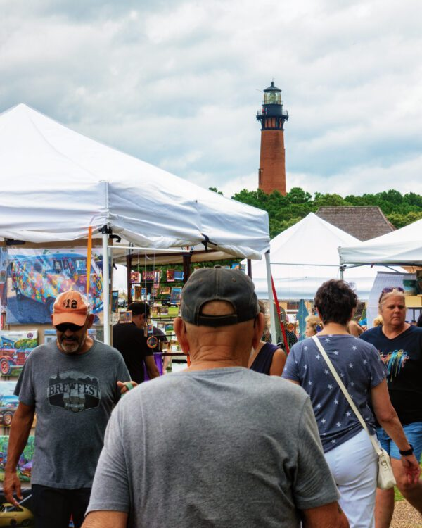 Art fair under the Corolla Lighthouse